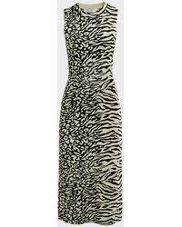 PROENZA SCHOULER WHITE LABEL Knit Animal-print Midi Dress - Black