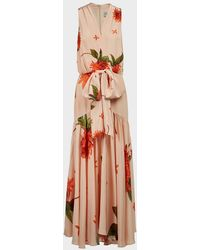 Silvia Tcherassi Ada Luz Floral Silk Maxi Dress - Multicolour