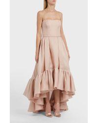 Reem Acra - Ruffled Hem Silk Dress - Lyst