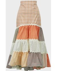 Silvia Tcherassi Petrona Patchwork Checked Skirt - Multicolor