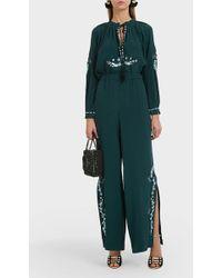 Vilshenko Kady Side Split Silk Trousers - Green