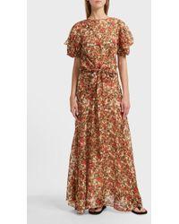 Isabel Marant Fleming Printed Silk-blend Top - Brown