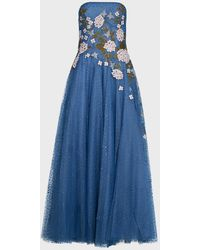 Costarellos Elette Strapless Dotted-tulle Dress - Blue