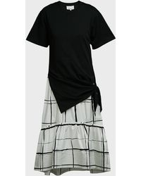 3.1 Phillip Lim Checked Tie-detail T-shirt Dress - Black