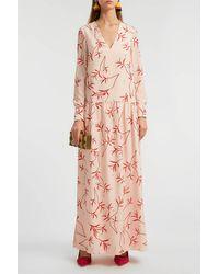 Borgo De Nor Anya Printed Crepe De Chine Maxi Dress - Pink