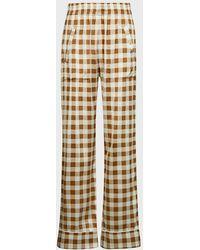 Ganni Checked Silk-satin Trousers - Multicolour