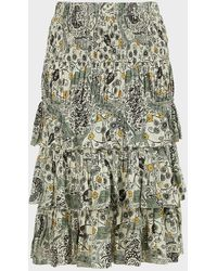Étoile Isabel Marant Cencia Floral Shirred Tiered Skirt - Green