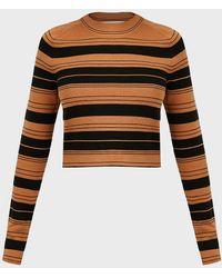 Proenza Schouler Compact Stripe Cropped Sweater - Multicolor
