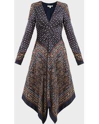 Jonathan Simkhai Asymmetric Scarf-print Dress - Black
