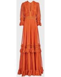 Costarellos Shay Ruffle Silk-chiffon Gown - Orange