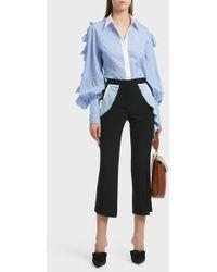 Sara Battaglia - Ruffle Shoulder Cotton Shirt - Lyst