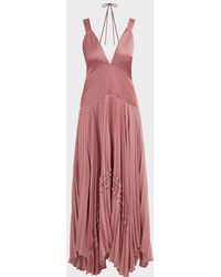 Alexis Bellona Pleated V-neck Satin Gown - Pink