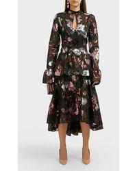 Erdem Bronte Tiered Brocade Dress - Black