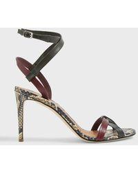Victoria Beckham Amy 90 Python-print Sandals - Multicolour