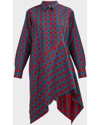 Marques'Almeida Asymmetric Checked Shirt Dress - Multicolor