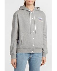Courreges - Embroidered Striped Cotton-jersey Hooded Top, 1 - Lyst
