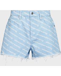 Alexander Wang Bite High-rise Frayed Shorts - Blue
