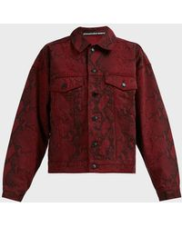 T By Alexander Wang Snake-print Denim Jacket - Red
