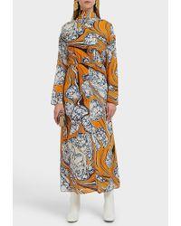 Rosie Assoulin Cinched Waist Silk Scarf Dress - Multicolour