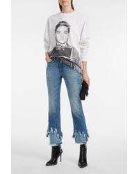 R13 Cropped Distressed Flared Jeans - Blue