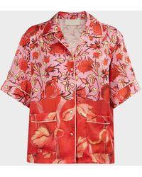 Peter Pilotto Floral-print Satin Shirt - Red