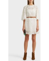 Isabel Marant Marlone Broderie Anglaise Ramie Mini Dress - White