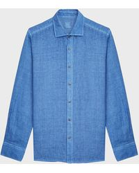 120% Lino Camp-collar Linen Shirt - Blue