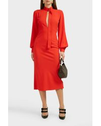 Victoria Beckham Slash-front Long Sleeve Midi Dress - Red