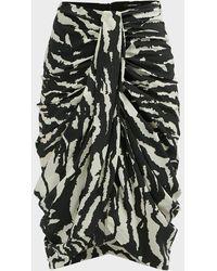 Isabel Marant Fetina Zebra-print Midi Skirt - Multicolour