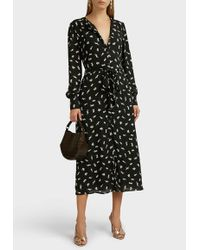 ALEXACHUNG Bunny-print Button-down Midi Dress - Black