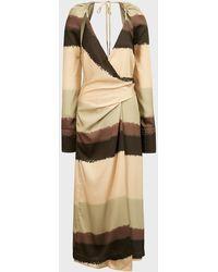 Nanushka Magali Spray Paint-print Dress - Natural