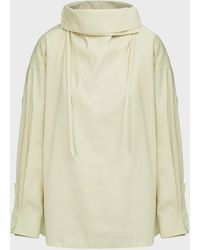 3.1 Phillip Lim Scarf-neck Cotton-blend Top - Natural