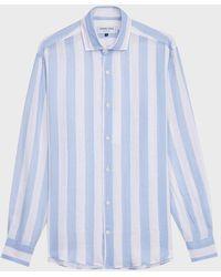Frescobol Carioca Striped Linen Shirt - Blue