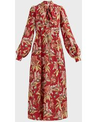 Peter Pilotto Floral Tie-up Crepe Midi Dress - Red