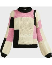 Ganni Patchwork Merino Wool-blend Sweater - Multicolor