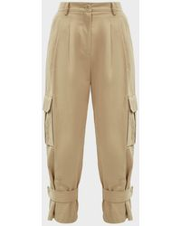 Erika Cavallini Semi Couture Derek Cuffed Cargo Trousers - Natural