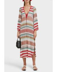 Missoni Donna Lace-up Crochet-knit Midi Kaftan - Multicolor