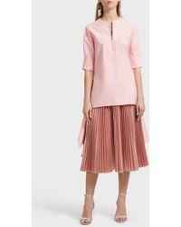 Cedric Charlier Metallic Pleated Skirt - Pink