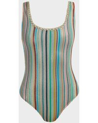 Missoni Striped Knitted-mesh Swimsuit - Blue