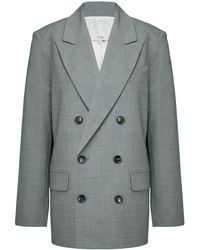 Tibi Double-breasted Wool-blend Blazer - Grey