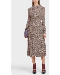 Victoria Beckham Button-down Pleated Silk Skirt - Multicolour