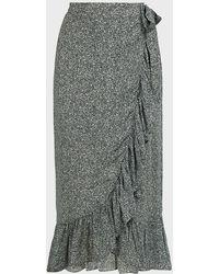 Anine Bing Lucky Ruffled Printed Crepe Wrap Skirt - Gray