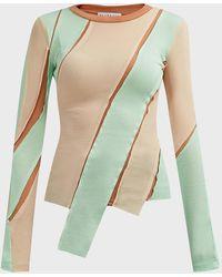 Rejina Pyo Reese Asymmetric Jersey Top - Multicolour