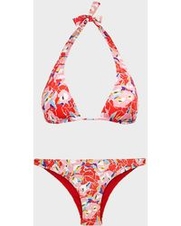 Missoni Abstract-print Halter Bikini - Red