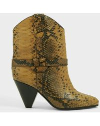 Isabel Marant Deane Snake-print Leather Boots - Multicolor