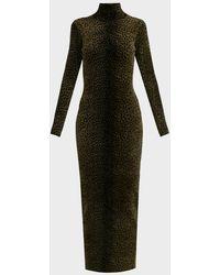 Alexander Wang Knit High-neck Leopard-print Dress - Black