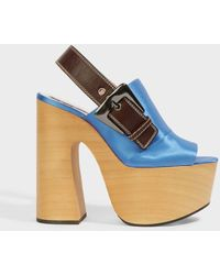 Rochas Slingback Platform Sandals - Blue