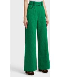 Martin Grant - High-waisted Cotton And Linen-blend Trousers, Fr42 - Lyst
