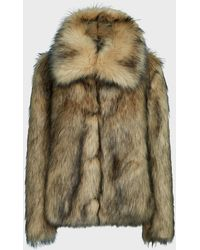 Paco Rabanne High-neck Faux Fur Coat - Multicolour