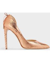 Chloe Gosselin Enchysia Metallic Python Court Shoes
